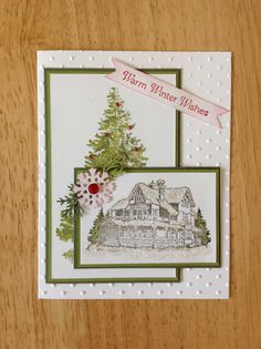 Stampin Up handmade Christmas card - christmas tree and lodge