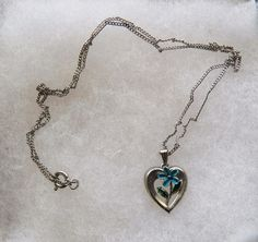 $3.00 - Silver Heart With Blue Flower Necklace (122316-8 Nec) jewelry, fashion #Unknown #Chain