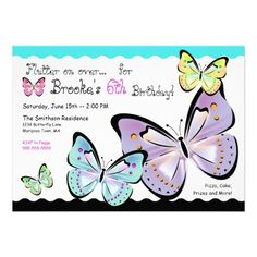Bright and Beautiful #Butterfly #birthday #party Invitations