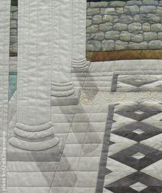 Roman Ruins by Aileyn Renli Ecob. Featured Artist, 2015 DVQ show. Closeup photo by Quilt Inspiration.