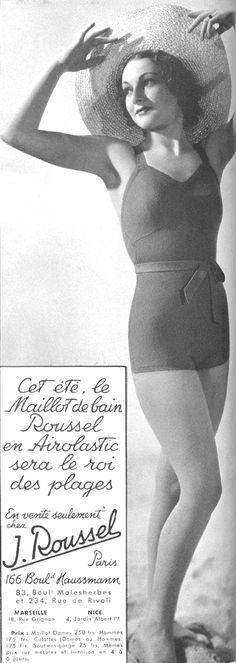 Eté 1936 Jusqu'au début du XXeme siècle, le costume de bain laissait peu entrevoir le corps des femmes, montrant à peine leurs jambes. Anywhere along the coast - Gibson, vers 1900 (Life) Puis, d'année en année, il se raccourcit pour s'adapter aux nouvelles...