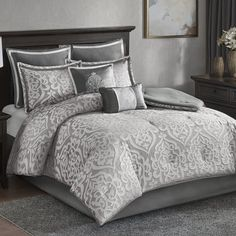 House of Hampton Tess 8 Piece Comforter Set Silver And Grey Bedroom, Purple Master Bedroom, Silver Bedding, Damask Bedding, Master Bedrooms, Master Suite, Elegant Comforter Sets, Bedroom Comforter Sets, King Size Comforter Sets