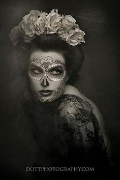 Halloween, Dia de Los muertos, Day of the Dead, sugar skull, spider web
