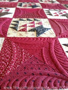 I love how the quilting in the red blocks makes circles around the basket blocks