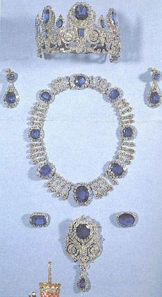 """""""Marie Antoinette's Jewels"""" They actually belonged to Hortense de Beauharnais, and may have belonged to her mother, the empress Josephine before that. However, Hortense sold them to King Louis-Philippe. His wife Queen Marie Amelie (Marie Antoinette's niece, so perhaps that's where the confusion entered) remodeled them. Now in the Louvre."""