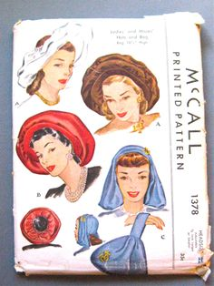 Early 1940s Hats and Bag Pattern by McCall 1378 by Fancywork