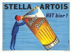 Stella Artois Het Bier Vintage Food&Drink Poster Poster Paper Sticker or Canvas Print / Gift Idea / Christmas Gift Vintage Advertising Posters, Vintage Advertisements, Vintage Ads, Vintage Posters, Vintage Food, Stella Artois, Sous Bock, Beer Poster, Poster Poster