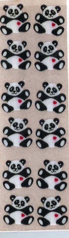 Stickers Vintage 1 sheet Sandylion 12 FUZZY PANDA BEARS 1990 A1-18 #Sandylion #Stickers