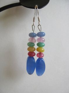 Blue Glass and Dyed Jade Earrings by SmithNJewels on Etsy, $9.99
