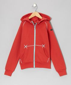 Take a look at this Red & Turquoise Zip-Up Hoodie - Infant, Toddler & Boys by moonkids on #zulily today!