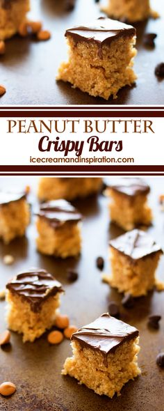 These Peanut Butter Crispy Bars are the perfect treat to take to parties and picnics. Only six ingredients, and no baking! These Peanut Butter Crispy Bars are the perfect treat to take to parties and picnics. Only six ingredients, and no baking! Easy Gluten Free Desserts, Easy Desserts, Delicious Desserts, Potluck Desserts, Cheesecake Oreo, Cheesecake Recipes, Pavlova, Traditional Easter Desserts, Mousse
