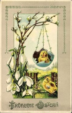 Old Easter Post Card — Fröhliche Ostern, 1927  (538x850)