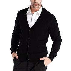 Product review for CHAUDER Men's Relax Fit V-Neck Cardigan Cashmere Wool Blend Button Down with Pockets.  Ultra-soft and Stylish Cashmere Cardigan from CHAUDER Puts a super warm and fashionable knitwear on your casual look.  This is the perfect addition to your closet. Team this jumper with pure color shirt and smart trouser, even jeans are perfectly suitable. Wear it as a versatile layering...