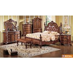 Bedroom Sets: Royal Collection Traditional Bedroom Set (Bed, 2 Nightstands, Dresser and Mirror) AEF-ROYAL-SET/7