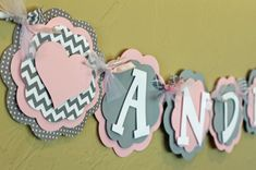 Heart Light Baby Pink Gray Chevron Stripe Polka Dot Name or It's A Girl Banner Baby Shower Birthday Party Decorations Wedding Love Valentine on Etsy, $26.00