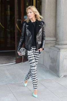 Anja Rubik in geometrical BALMAIN pants