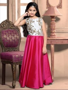 Pink Taffeta Silk Gown For Kids ,Indian Dresses