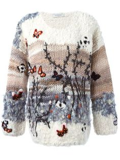 Designer Knitwear & Sweaters For Women - Shop Valentino butterfly intarsia sweater in from the world's best independent boutiques at farf - Knitwear Fashion, Knit Fashion, Pull Crochet, Knit Crochet, Freeform Crochet, Crochet Cardigan, Pulls, Long Sleeve Sweater, Baby Knitting