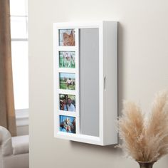 Have to have it. Photo Frames Locking Wall Mount Jewelry Armoire Mirror - High Gloss White $159.99