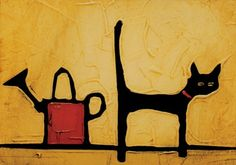 Watering Can and Cat by Colin Ruffell