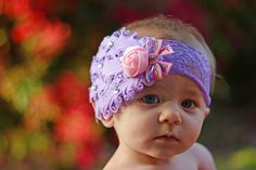 Look at this adorable little model in her Luscious Lavender headband....TOO CUTE!