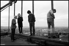 Group portrait of U2 on the roof of the Cork Country Club Hotel, Cork, Ireland March 2 1980. L-R Adam Clayton, The Edge, Bono and Larry Mullen Jnr.