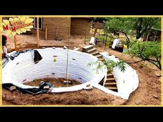 Completing the Stairs Heating A Greenhouse, Earth Bag Homes, Adobe, Earthship, Round House, Beautiful Architecture, How To Level Ground, Little Houses, Outdoor Furniture
