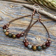Wire Wrapped Earrings, Beaded Earrings, Teardrop Earrings, Diy Boho Earrings, Wire Wrapped Stones, Wire Jewelry Earrings, Diy Earrings With Beads, Stone Earrings, Opal Earrings