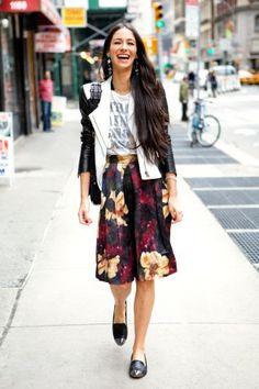 H skirt, John Varvatos T-shirt, Sam Edelman loafers, Helmut Lang leather jacket, Chloé purse, Marni necklace, Erickson Beamon earrings.