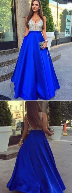 elegant royal blue satin prom dress with pocket, shiny v-neck silver sequined party dress with pocket, fashion a-line long royal blue prom dress with sequins