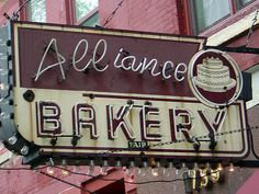 vintage bakery sign, neon sign
