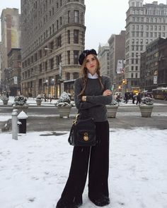 In my beautiful @ralphlauren iconic look in front of one of my favourite buildings in New York while It's snowing  #RLIcons by chiaraferragni