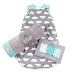 This beautiful 3 piece gift set, in turquoise and grey, includes the award winning Babasac multi-tog sleeping bag, stylish soft cotton cellular blanket and a 3 pack of super soft cotton muslin squares.