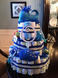 Large Sea Themed Diaper Cake whale baby shower
