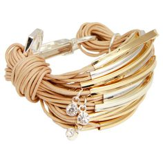 A glamorous finishing touch for your favorite outfits, this eye-catching bracelet features metallic accents and glittering Austrian crystal charms.