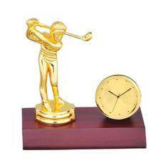 customized metal table clock man playing golf