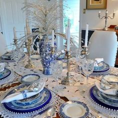 Blue And Silver Christmas Tablescape Design, Pictures, Remodel, Decor and Ideas - page 3
