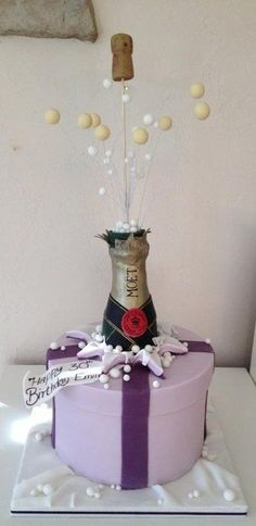 Exploding champagne bottle cake Cake by cakeali - For all your cake decorating supplies, please visit craftcompany.co.uk