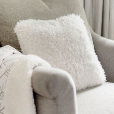 Our faux fur throw pillow is perfect for your nursery glider or bay window…