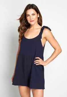 We need to talk about this navy blue romper. Its ample side pockets, adjustable shoulders ties, and breathable cotton construction are just so incredibly cute and comfy. Should this Bright & Beautiful one piece be your next casual go-to? We think yes! Unique Dresses, Cute Dresses, Beautiful Dresses, Rompers Women, Jumpsuits For Women, New Arrival Dress, Modcloth, Stylish Outfits, Fashion Dresses