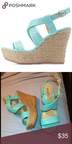 Charlotte Russe Mint Laser-Cut Espadrille Wedges Espadrilles - Laser cut-outs create the perfect perforations all over these faux leather sandals, with a single strap across the toes, and two on top that crisscross into a sleek, golden-buckled slingback. Braided jute adds espadrille appeal to the platform and wedge heel below. Never worn , Excellent condition , Add some flair to your closet! Charlotte Russe Shoes Sandals