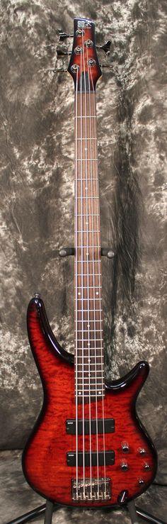 2013 Ibanez SR405QM Charcoal Brown Burst 5 String Electric Bass Guitar