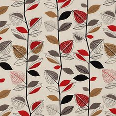 Autumn Leaves 5938 Red Berry STOCK Curtain Fabric by Prestigious Textiles by the metre. Leaf Curtains, Curtains With Blinds, Curtain Fabric, Curtain Material, Roman Blinds, Textures Patterns, Fabric Patterns, Print Patterns, Doodle Patterns