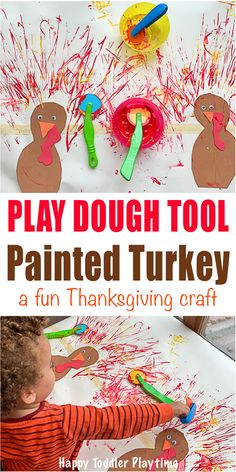 Play Dough Tool Painted Turkey Craft - HAPPY TODDLER PLAYTIME Set up this fun and easy painted turkey craft for your toddler or preschooler this Thanksgiving. It's also an amazing mark making activity. #thanksgivingcrafts #processart #kidscrafts