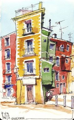 43 Ideas for house sketch architecture urban sketchers Pen And Watercolor, Watercolor Landscape, Watercolor Illustration, Watercolor Trees, Watercolor Portraits, Watercolor Painting, Watercolor Artists, Urban Sketchers, Cool Drawings