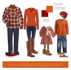 Red/burnt orange outfit inspiration: what to wear for a family photo session in the fall. Created by Kate Lemmon, www.kateLphotography.com