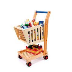 Carrito de compra de juguete para niños de madera muy original. (35 x 28 x 59 cm) (+ de 3 años)