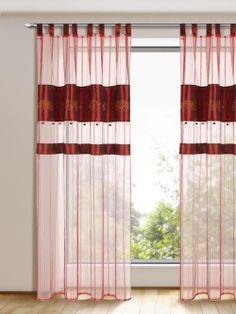 Dieser, mit goldenen Elefanten und Pailletten bestickter, bordeauxfarbene Schlaufenvorhang ist ein Eye-Catcher. Maße: ca. 245 x 135 cm (HxB) Gardinen-Outlet.com