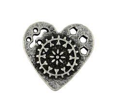Antique Silver Mandala Heart Metal Shank Buttons - 19mm - 3/4 inch