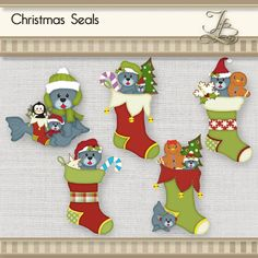 Christmas Seals and Stockings digital png by JBrandPhotoDesigns, $4.00